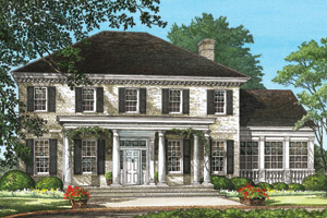 Center Hall Colonial House Plans