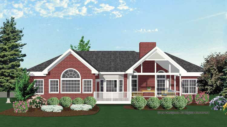 Rear View of Home Plan HOMEPW02945
