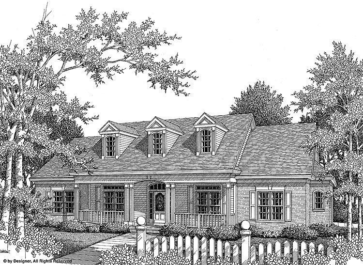 Black and White Rendering of Home Plan HOMEPW03005