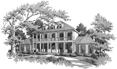 Black and White Rendering of Home Plan HOMEPW03692