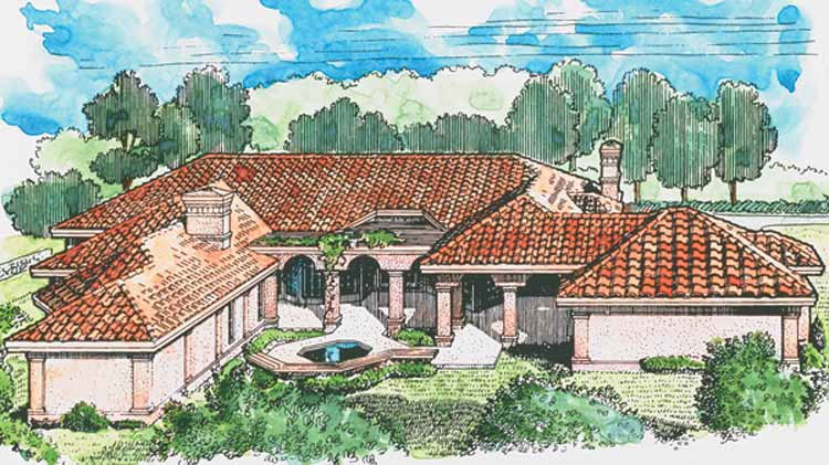 Rear View Color Rendering of Home Plan HOMEPW11543