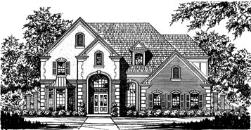 Black and White Rendering of Home Plan HOMEPW21637