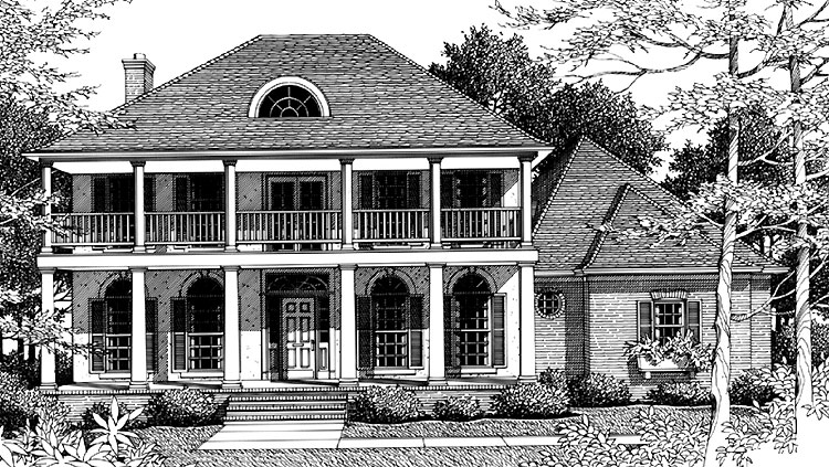 Black and White Rendering of Home Plan HOMEPW27029