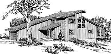 Black and White Rendering of Home Plan HOMEPW71314
